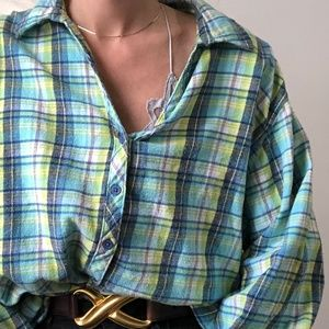 VINTAGE/ oversized boxy flannel button up